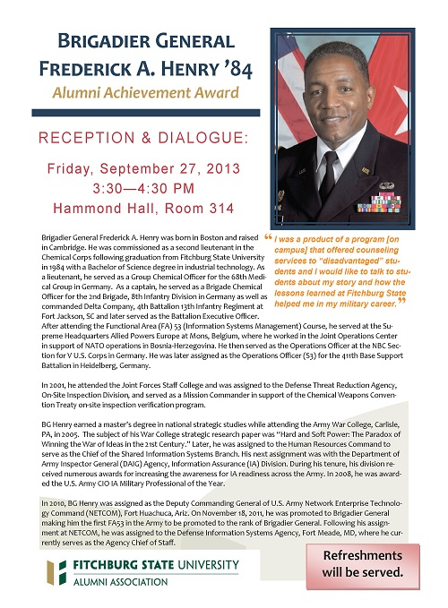 Fitchburg State presents Brigadier General Frederick Henry
